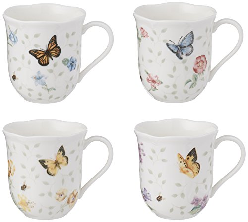 Meadow Coffee Butterfly - Lenox Butterfly Meadow Mug, 10-Ounce, Assorted Colors, Set of 4