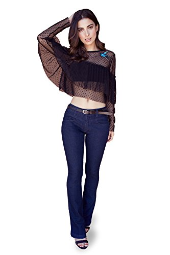 Bootcut Stretch Belt (Bebop Womens Bootcut Pant Dark Wash Size 3 Stretch Denim Removable Belt)