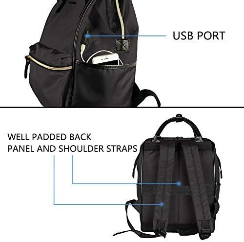 KROSER Laptop Backpack 15.6 Inch Stylish School Computer Backpack Doctor Bag Water Repellent College Casual Daypack with USB Port Travel Business Work Bag for Men/Women-Black