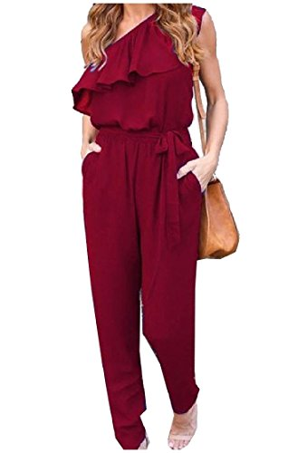 Career Pants Suit - Comfy-Women Pockets Chiffon One Shoulder Off Loose Strappy Straight Pants Ruffled Career Inclined Shoulder Jumpsuits Rompers Wine Red Large