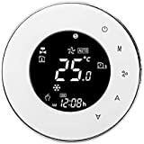 TOOGOO Bht-6000-Gclw Water/Gas Boiler Thermostat Backlight Wifi 3A Weekly Programmable Lcd Press Screen Compatible with Alexa Google Home(White)