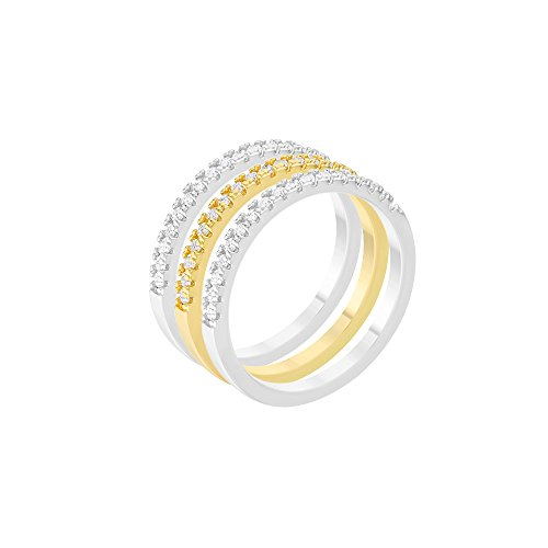Belle Cherie Classic Stackable Ring Set Stacking Wedding Bands with Simulated Diamonds 14K Gold and Rhodium Plated 3 Ring (Achieve Stackable)