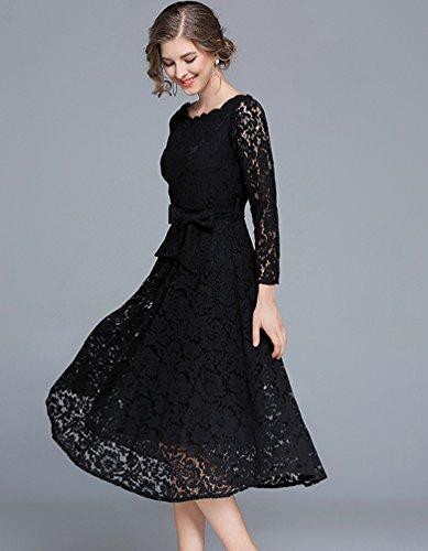 Vestiti Donna Moda Sera Vintage Pizzo In Partito YiLianDa Abiti Nero Per Da Abito Cerimonia Eleganti fqW5Rwwvdx