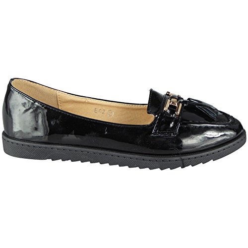 Womens Comfy Flat Loafers Ladies New Tassel Casual Slip On Work Pumps Shoes Size 3-8 Black eu3nnE