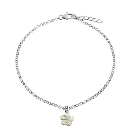(Created White Opal Inlay Plumeria Flower Anklet Link Chain Ankle Bracelet Sterling Silver Adjustable 9-10 Inch Extender)