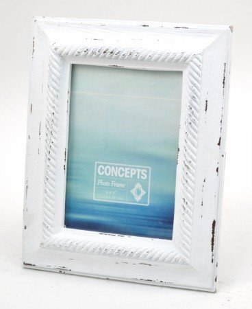 Concepts 5X7 White Wood Picture Frame With White Rope Border and Inset Picture