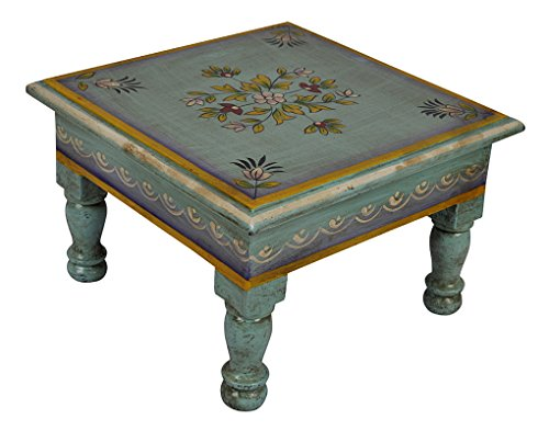 End Tables Wooden Chowki Mini Table 9 X 9 X 5.5 Inch (Painted Art Table Deco)