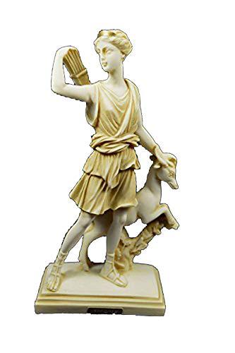 Estia Creations Artemis Sculpture with Deer Ancient Greek Goddess of Hunt Diana Aged Statue (Ancient Deer)