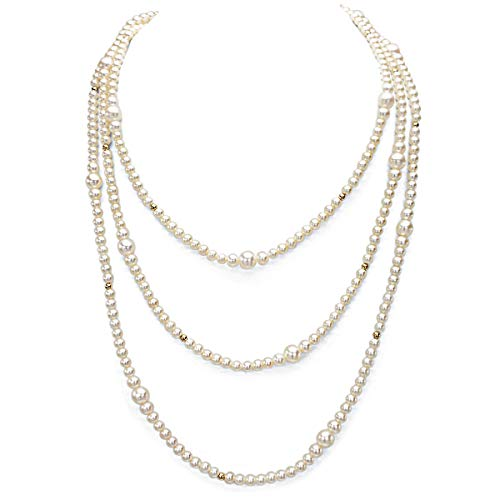 Multi-size 4.5-7.5mm White Freshwater Cultured High Luster AAA+ Pearl Endless Necklace, 64