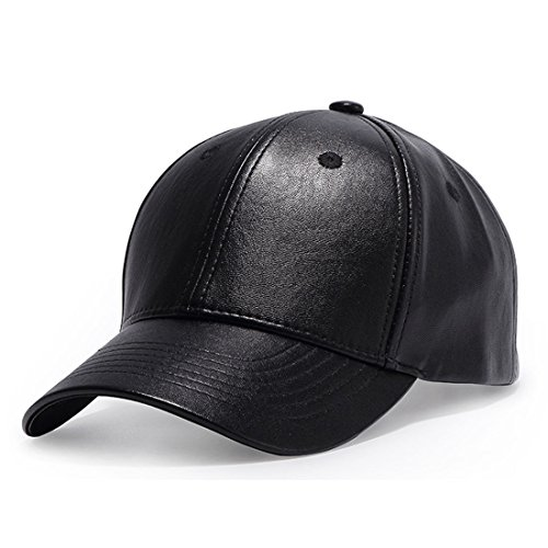 King Star Men Solid Plain PU Leather Baseball Cap Adjustable Driving Winter Warm Hats (Leather Winter Hat)