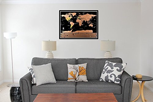 Nomad Maps Scratch Off World Map Poster- Detailed with U.S. States and Includes all Country Flags, comes with Scratch Off Accessories, Large Sized Poster, Travel Tracker Photo #4