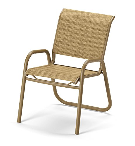 Telescope Casual Furniture Reliance Contract Sling Collection Stacking Aluminum Arm Chair, Bark, Textured Graphite Finish