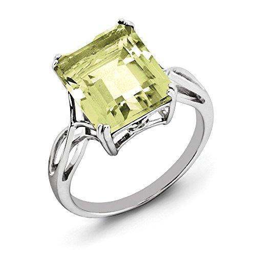 (14K White Gold Over Octagon Lemon Quartz Solitaire Wedding Ring Size 6 For Women (5.4ct))