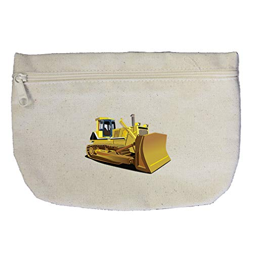 Yellow Dozer Car Auto Cotton Canvas Makeup Bag Zippered Pouch