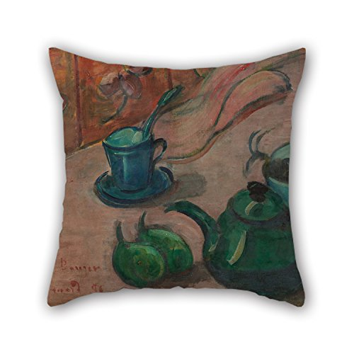 Red Toile Teapot - Oil Painting ?mile Bernard - Still Life With Teapot, Cup And Fruit Pillowcase Best For Monther Family Father Living Room Office Sofa 18 X 18 Inches / 45 By 45 Cm(each Side)