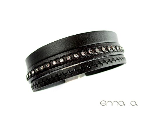 Everything Rhinestone - Black leather bracelet with rhinestone and engraving