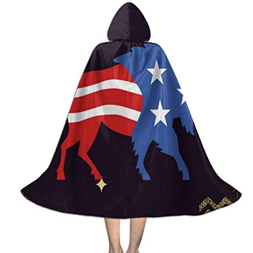 Halloween Costumes Bison Buffalo Bull with American Stars and Stripes Flag Designer Hooded Witch Wizard Cloak for Kids S