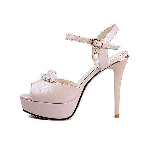 Amoonyfashion Donna Peep Toe Fibbia Pu Sandali Tacchi Alti Con Ornamenti In Metallo Rosa