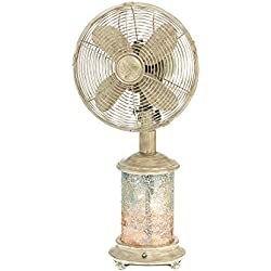 DecoBREEZE Oscillating Table Fan and Tiffany Style Table Lamp, 3 Speed Circulator Fan, 10 in, Sea Breeze