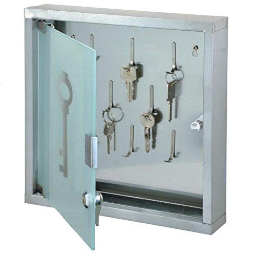 Schlüsselkasten mit Glastür 30x30x6cm - 8 Schlüsselhaken - abschließbar