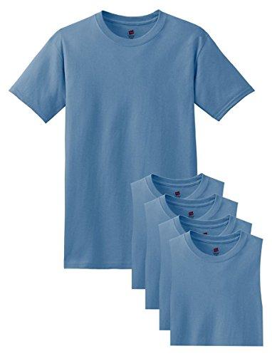 Tagless De 5 Manga Corta Cuello Para Comfortsoft Redondo Denim pack Camiseta Azul Hanes Hombre Niños 17Eqwxx0