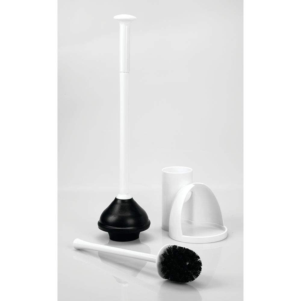 mDesign Modern Slim Compact Freestanding Plastic Toilet Bowl Brush Cleaner and Plunger Combo Set Kit with Holder Caddy for Bathroom Storage and Organization - Covered Lid Brush, 2 Pack - White by mDesign (Image #6)