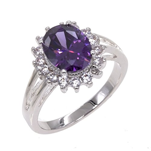 Lavencious Oval Round Amethyst Violet CZ Rings Wedding Party Statement Engagement Inspired Cocktails for Woman Size 5-10 (Purple, 7)