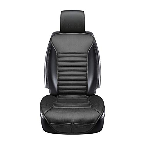 Leather Bamboo - DINKANUR Cover Cushions PU Leather Bamboo Charcoal Car Interior Seats Suit for Most Cars with slim Waistline Backrest (1 PCS ) (black)