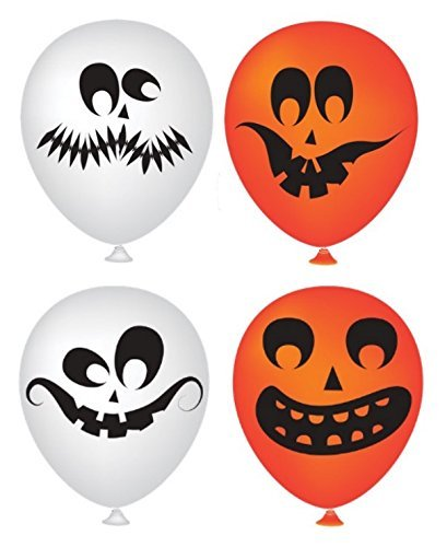 (Halloween Balloons 50 Pack - Partay Pumpkin Halloween Scary Cute Decor for Halloween Parties and Party Favors - Orange and White Funny Faces)