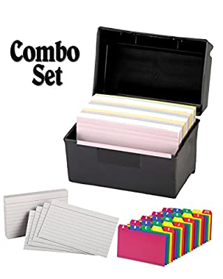 "Plastic Index Card Flip Top File Box Holds 300 3 x 5 Cards, Matte Black, with Poly Card Guides, A-Z, 3 x 5 -Inch, and Heavy Weight Index Cards, 3"" x 5"", Ruled, White, 100/Pack"