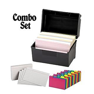 plastic index card flip top file box holds 300 3 x 5 cards matte black - Business Card File Box