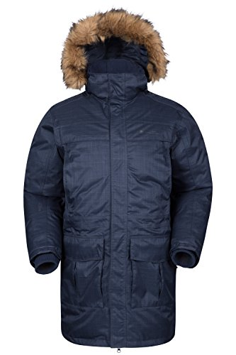 Mountain Warehouse Antarctic Textured Men's Down Insulated Jacket - Waterproof, Breathable IsoDry Fabric, Taped Seams Navy Large