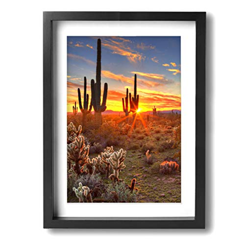 Colorfull Sunset With Saguaros Desert Cactus In Arizona Contemporary Giclee Canvas Print Framed Artwork Pictures Paintings On Wall Art For Home Office Decorations Wall Decor ()