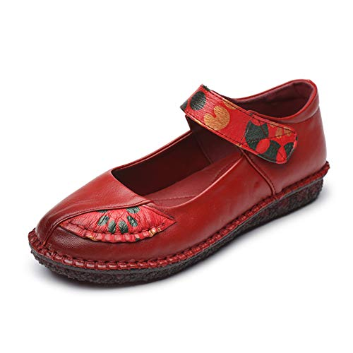 Womens Ballet Flats Mary Jane Shoes Slip On for Grandma Handmade Comfortable Vintage Leather Shoes with Soft Jelly Sole Size 8 8.5 Red ()