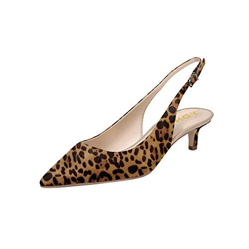 Ydn Sandales Talons Bas Femmes Chaton Slingback Pompes Glissent Sur Bout Pointu Chaussures Confortables Léopard Ol