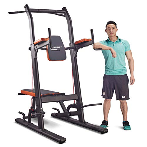 HARISON Power Tower Dip Station with Bench High Capacity Home Gym Exercise Equipment, Dip Stands, Pull Up Bars, Push Up Bars, VKR, Chin Ups for Strength Training Workout