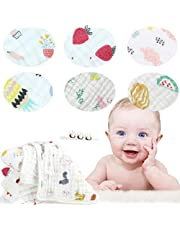 """Baby Muslin Washcloths Multi-Use Baby Wash Shower Towel 6 Layers Cotton Baby Wipes Pack of 6 (C, 12""""*12"""")"""