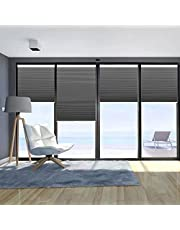 """WEHEME Cordless Blinds Blackout Cellular Shades,Honeycomb Shades for Home,Room Darkening Pleated Window Shades(Deep Gray) 25"""" W × 60"""" H"""