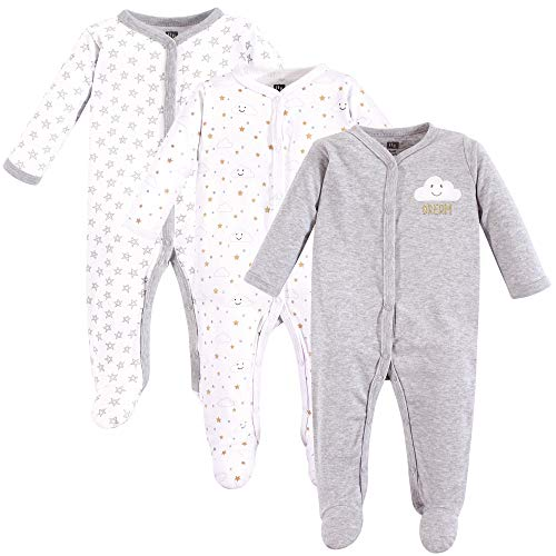 Hudson Baby Unisex Baby Sleep and Play, Gray Clouds, 0-3 Months (3M)