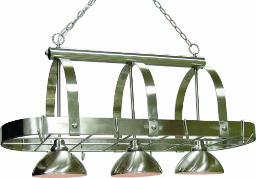 Volume Lighting V3023-33 3 Light Brushed Nickel Pot Rack