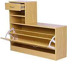 HOMCOM Conjunto de Muebles de Entrada Recibidor Pasillo Set de 3 Piezas Perchero Espejo Zapatero con Cajón 90x22x116cm Madera