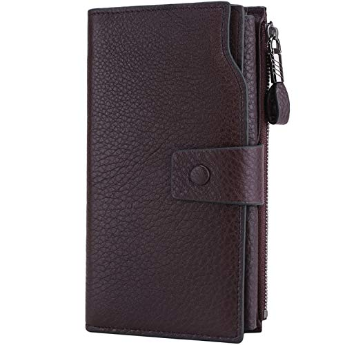 Itslife Women's RFID Blocking Large Capacity Luxury Wax Genuine Leather Cluth Wallet Card Holder Ladies Purse (Natural Dark Purple RFID Blocking)