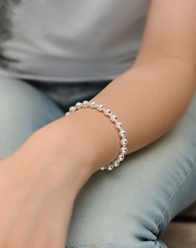 EVER FAITH® en Pluie- Chaîne Bracelet Argent 990 5MM N06402-1