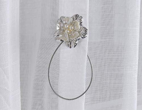 Tiranti VOANZO 4 pezzi Gancio per tenda a calamita Elegante fibbia per fiori con chiusura a calamita magnetica argento