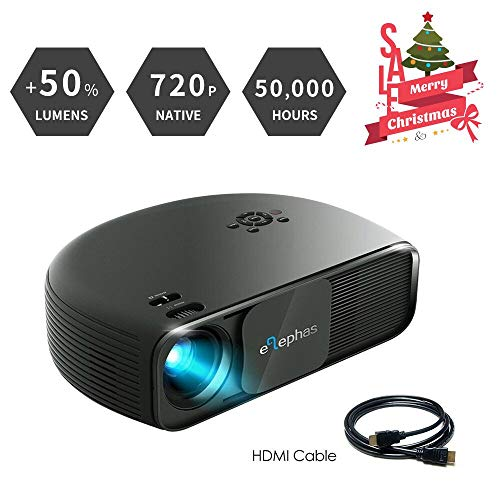 ELEPHAS 720P HD LED Movie Projector, LCD Video Projector Sup