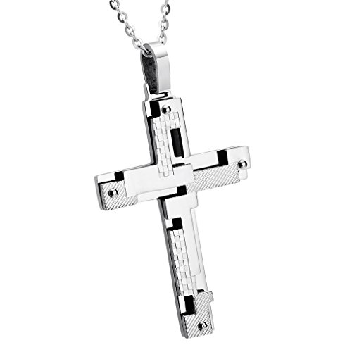 Aooaz Men's Stainless Steel Pendant Necklace, Irregular Christ Cross Silver Gothic Punk Wedding - European Fake Id