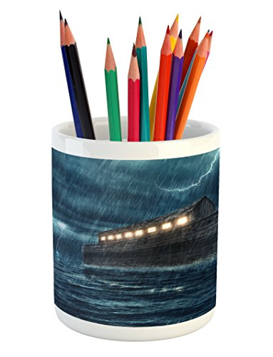 - Ambesonne Nature Pencil Pen Holder, Old Nostalgic Wooden Boat Ship During Rain and Thunder Storm Scary Dramatic Scene, Printed Ceramic Pencil Pen Holder for Desk Office Accessory, Blue Brown