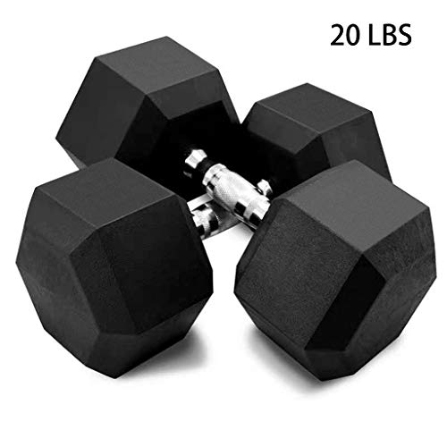 5-50lbs Dumbbells – Hex Rubber Dumbbell With Metal Handles – Shaped Heads to Prevent Rolling and Injury – Ergonomic Hand…