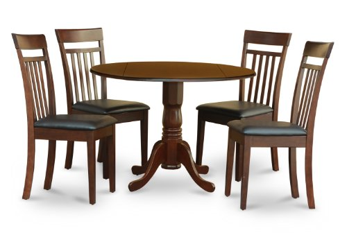 East West Furniture DLCA5-MAH-LC 5 PC Set-Small Table-Plus 4 Kitchen Chairs, Faux Leather Seat, Mahogany -