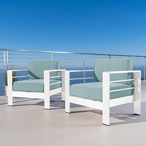 Christopher Knight Home Crested Bay Outdoor White Aluminum Club Chairs with Teal Water Resistant Cushions (Set of 2)